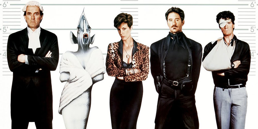 A Fish Called Wanda. Image shows from L to R: Archie Leach (John Cleese), Wanda Gershwitz (Jamie Lee Curtis), Otto West (Kevin Kline), Ken Pile (Michael Palin).
