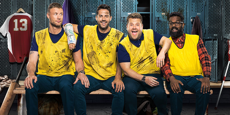 A League Of Their Own. Image shows from L to R: Andrew Flintoff, Jamie Redknapp, James Corden, Romesh Ranganathan. Copyright: CPL Productions.