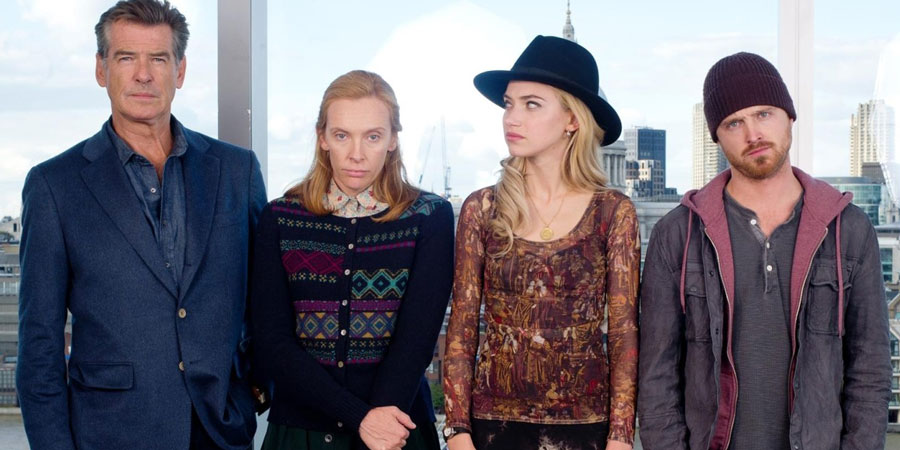 A Long Way Down. Image shows from L to R: Martin Sharp (Pierce Brosnan), Maureen (Toni Collette), Jess Crichton (Imogen Poots), J.J. (Aaron Paul).