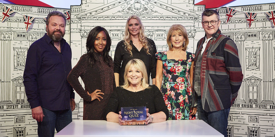 A Right Royal Quiz. Image shows from L to R: Hal Cruttenden, Angellica Bell, Fern Britton, Jodie Kidd, Jennie Bond, Joe Pasquale.