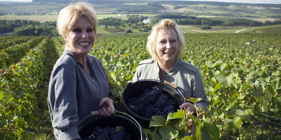 Joanna & Jennifer: Absolutely Champers. Image shows from L to R: Joanna Lumley, Jennifer Saunders. Copyright: BBC.