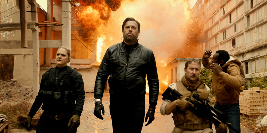 Action Team. Image shows from L to R: Monica (Laura Checkley), Logan (Tom Davis), Graham (Jim Howick), Huxley (Kayode Ewumi).
