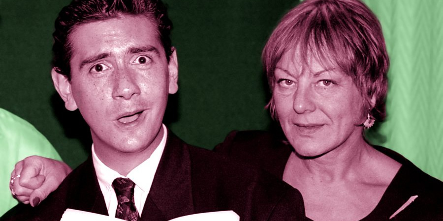 Adrian Mole: The Wilderness Years. Image shows from L to R: Harry McEntire, Sue Townsend. Copyright: Pier Productions.