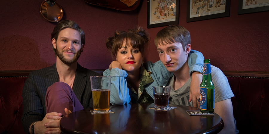 After Hours. Image shows from L to R: Ollie (Rob Kendrick), Lauren (Jaime Winstone), Willow Hannigan (James Tarpey). Copyright: Jellylegs.