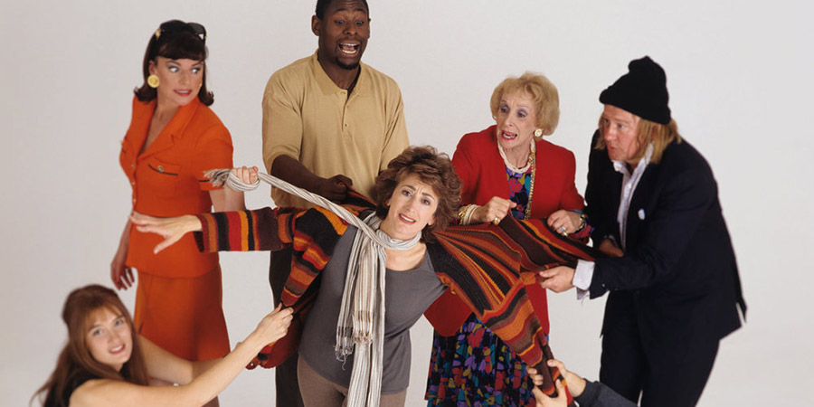 Agony Again. Image shows from L to R: Catherine (Valerie Edmond), Debra (Doon Mackichan), Daniel (David Harewood), Jane (Maureen Lipman), Bea (Maria Charles), Richard (Niall Buggy). Copyright: Humphrey Barclay Productions.