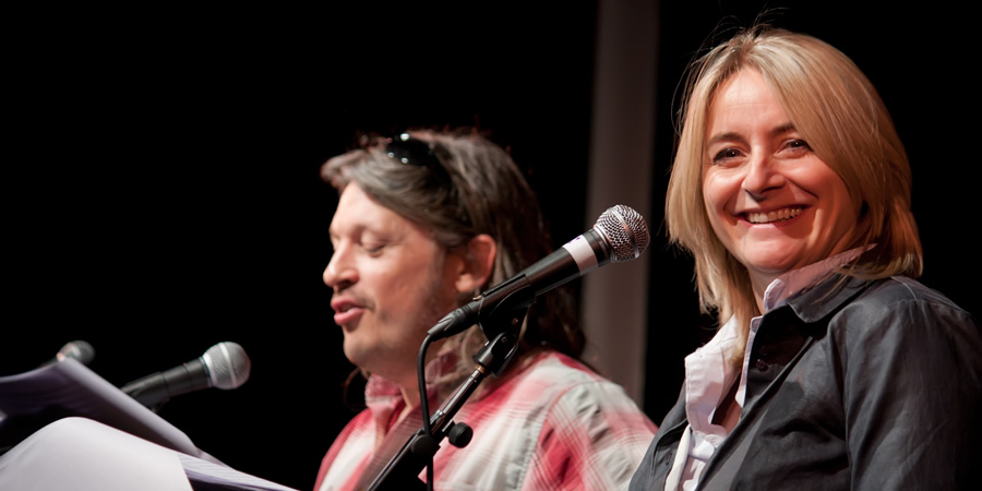AITOM. Image shows from L to R: Richard Herring, Emma Kennedy. Copyright: Mat Ricardo.