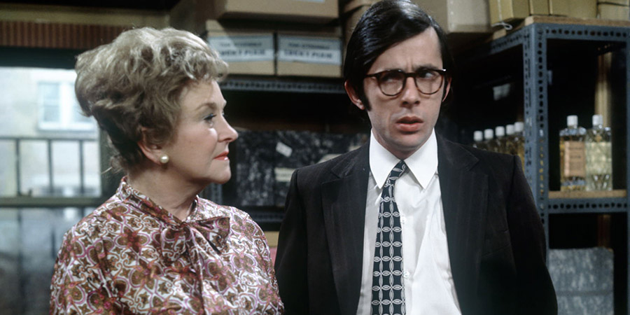 Alcock And Gander. Image shows from L to R: Mrs. Marigold Alcock (Beryl Reid), Richard Gander (Richard O'Sullivan). Copyright: Thames Television.