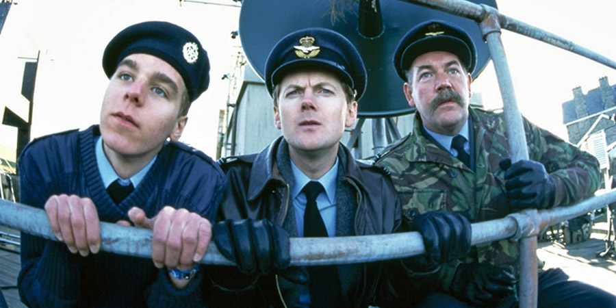 All Along The Watchtower. Image shows from L to R: Airman Tench (Felix Bell), Flight Lieutenant Simon Harrison (Chris Lang), Wing-Commander Hilary Campbell-Stokes (Roger Blake). Copyright: BBC.