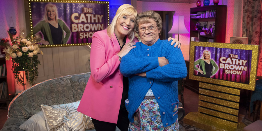 All Round To Mrs. Brown's. Image shows from L to R: Cathy Brown (Jennifer Gibney), Mrs Brown (Brendan O'Carroll).