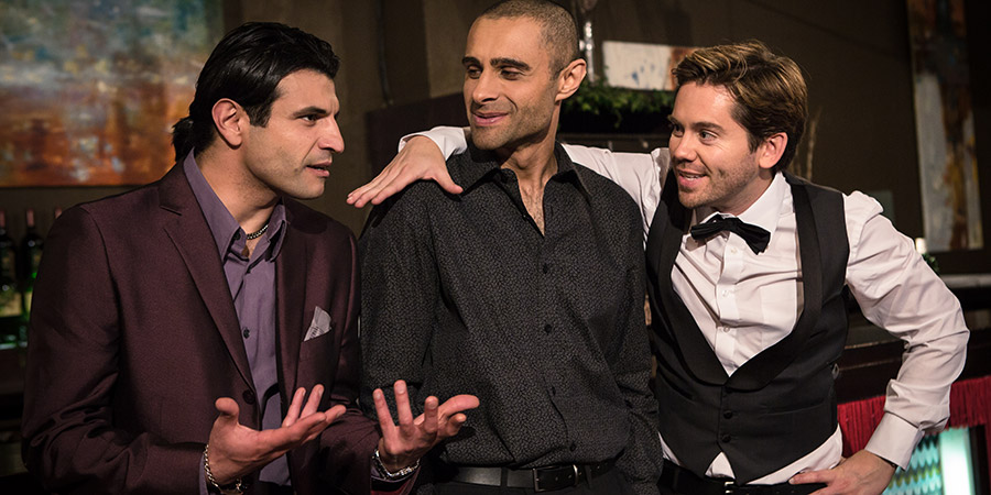 Amar Akbar & Tony. Image shows from L to R: Akbar (Sam Vincenti), Amar (Rez Kempton), Tony (Martin Delaney).