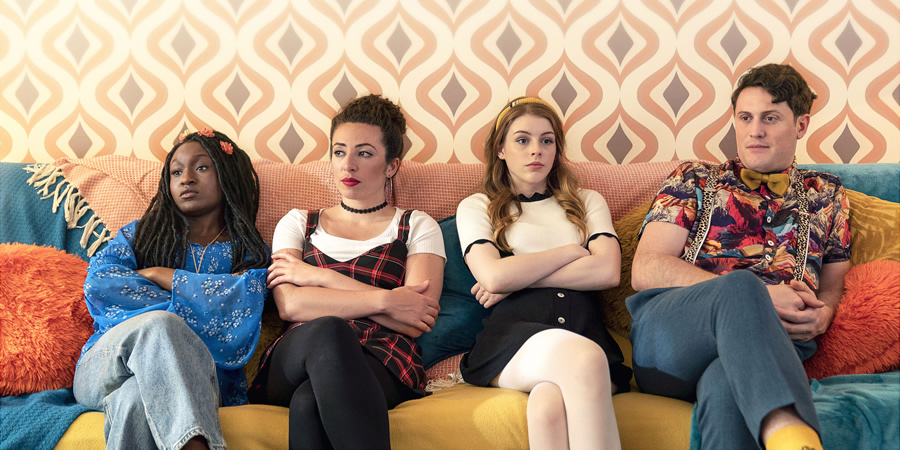 The Amelia Gething Complex. Image shows from L to R: Vinny (Jasmin Hinds), Poppy (Natalia Hinds), Amelia (Amelia Gething), Wallace (Alex Griffin-Griffiths). Copyright: BBC.