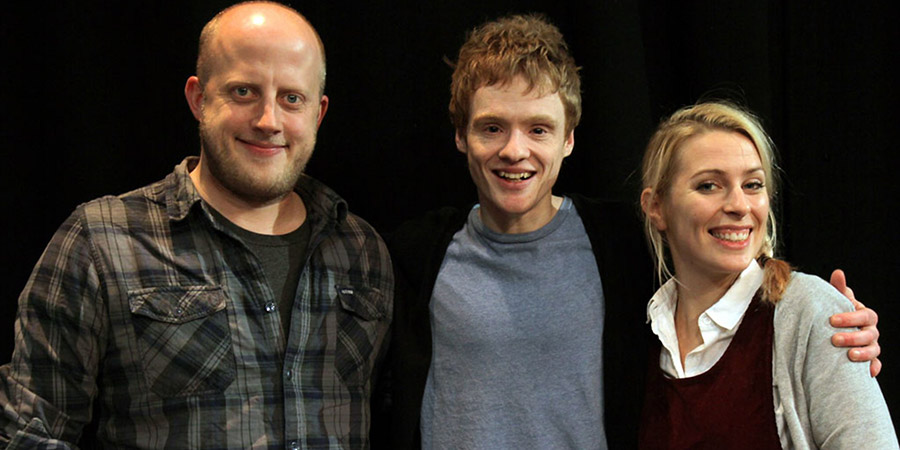 Andrew Lawrence: How Did We End Up Like This?. Image shows from L to R: Marek Larwood, Andrew Lawrence, Sara Pascoe. Copyright: BBC.