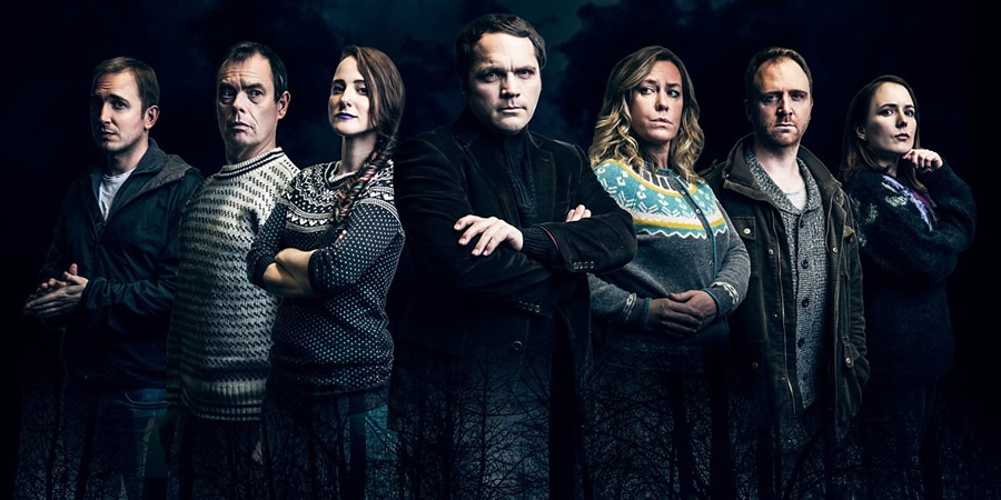 Angstrom. Image shows from L to R: David Reed, Kevin Eldon, Nina Oblong (Nadia Kamil), Knut Ångström (Matthew Holness), Anna Crilly, Simon Kane, Freya Parker. Copyright: BBC.