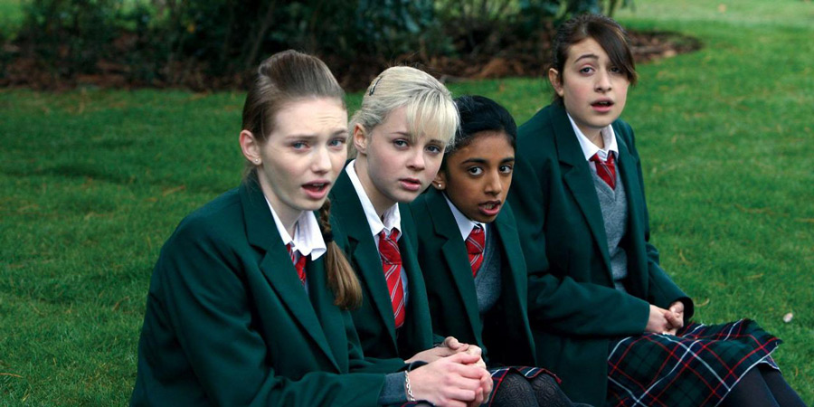 Angus, Thongs And Perfect Snogging. Image shows from L to R: Jas (Eleanor Tomlinson), Rosie (Georgia Henshaw), Ellen (Manjeeven Grewal), Georgia Nicolson (Georgia Groome).