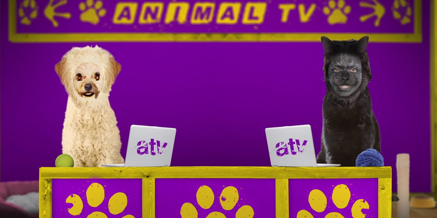 Animal TV. Image shows from L to R: Dorothy Eatbins (Lorna Watson), Simon Trumper (Tom Price).