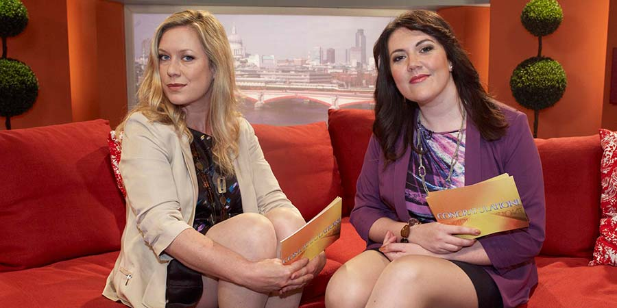 Anna & Katy. Image shows from L to R: Anna Crilly, Katy Wix. Copyright: Roughcut Television.