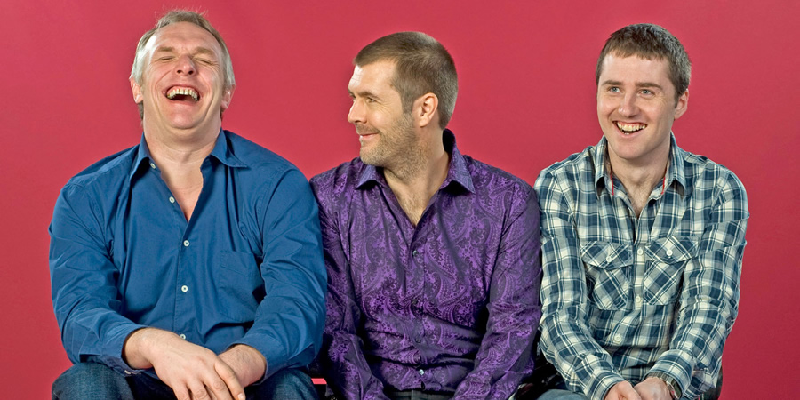 Ask Rhod Gilbert. Image shows from L to R: Greg Davies, Rhod Gilbert, Lloyd Langford. Copyright: Green Inc Film And Television.