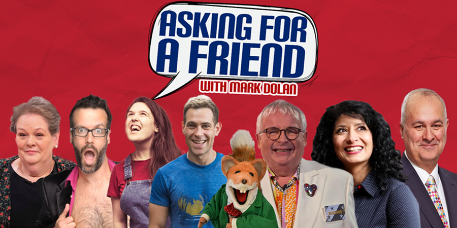 Asking For A Friend. Image shows from L to R: Anne Hegerty, Marcus Brigstocke, Rosie Jones, Simon Brodkin, Christopher Biggins, Shappi Khorsandi, Iain Dale.