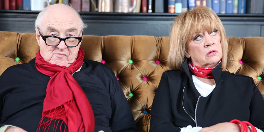 The Baby Boomers' Guide To Growing Old. Image shows from L to R: Henry Blofeld, Amanda Barrie. Copyright: Liberty Bell.