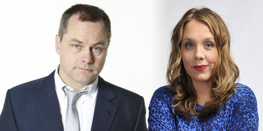 Image shows from L to R: Jack Dee, Kerry Godliman. Copyright: Open Mike Productions.