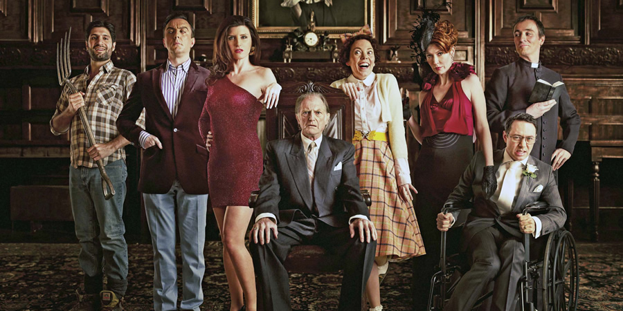 Bad Sugar. Image shows from L to R: Simon (Kayvan Novak), Rolph Cauldwell (Peter Serafinowicz), Lucy Cauldwell (Sharon Horgan), Ralphfred Cauldwell (David Bradley), Joan Cauldwell (Olivia Colman), Daphne Cauldwell (Julia Davis), Greg (Reece Shearsmith), Rodrigo (Derek Riddell). Copyright: Tiger Aspect Productions.