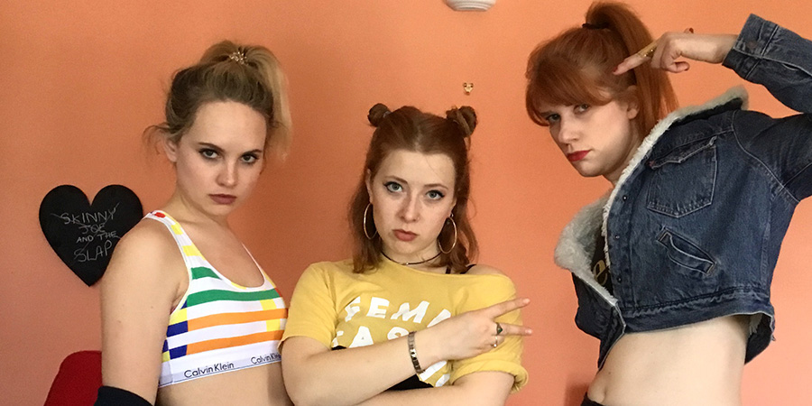 The Band Formerly Known As. Image shows from L to R: Paige (Meaghan Martin), Kerouac (Sabrina Parker), Tessa (Laura Evelyn).