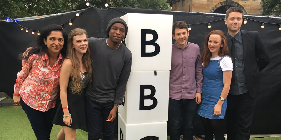 BBC New Comedy Award. Image shows from L to R: Sindhu Vee, Lauren Pattison, Michael Odewale, George Lewis, Catherine Bohart, Jethro Bradley. Copyright: BBC.