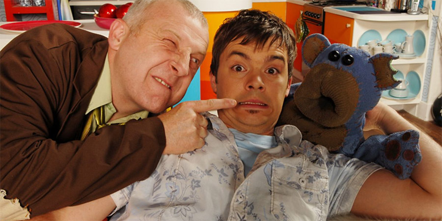 Bear Behaving Badly. Image shows from L to R: Andy Prank (Glen Davies), Barney (Barney Harwood).