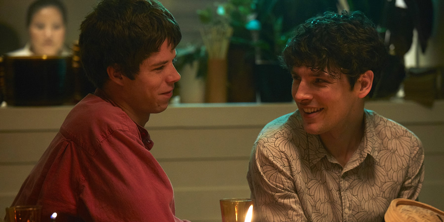 Benjamin. Image shows from L to R: Noah (Phénix Brossard), Benjamin (Colin Morgan).
