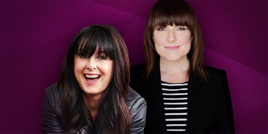 Between Ourselves With Marian Keyes. Image shows from L to R: Marian Keyes, Tara Flynn. Copyright: Giddy Goat Productions.