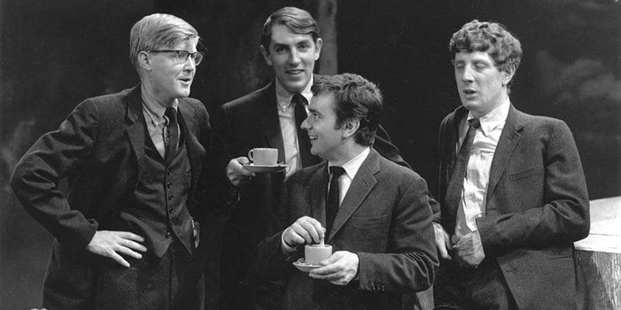 Beyond The Fringe. Image shows from L to R: Alan Bennett, Peter Cook, Dudley Moore, Jonathan Miller. Copyright: BBC.