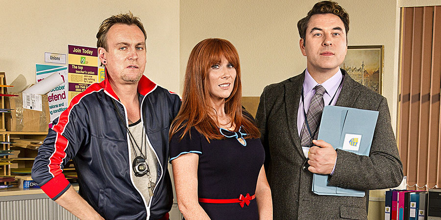 Big School. Image shows from L to R: Mr Gunn (Philip Glenister), Miss Postern (Catherine Tate), Mr Church (David Walliams). Copyright: BBC.