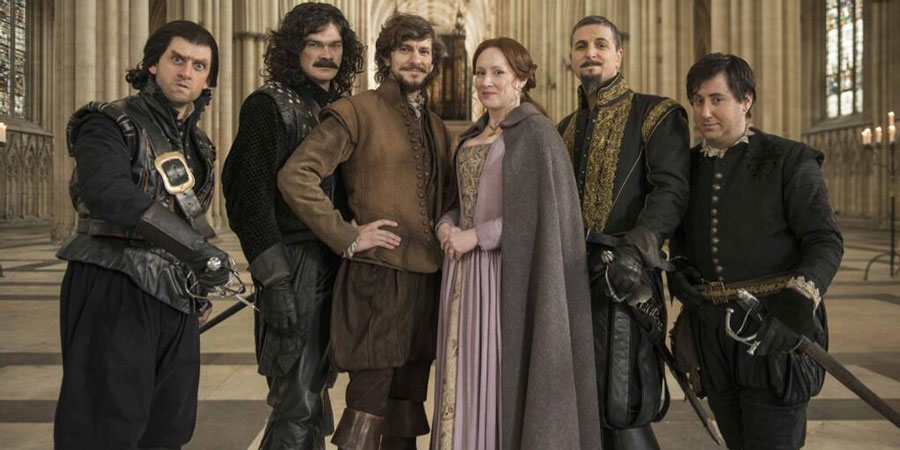 Bill. Image shows from L to R: Lope Lopez (Laurence Rickard), Juan Domingo (Simon Farnaby), Bill Shakespeare (Mathew Baynton), Anne Hathaway (Martha Howe-Douglas), King Philip II of Spain (Ben Willbond), Gabriel Montoya (Jim Howick). Copyright: BBC Films / Cowboy Films.