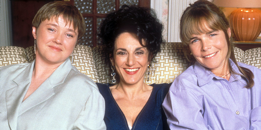 Birds Of A Feather. Image shows from L to R: Sharon Theodopolopodous (Pauline Quirke), Dorien Green (Lesley Joseph), Tracey Stubbs (Linda Robson). Copyright: BBC.