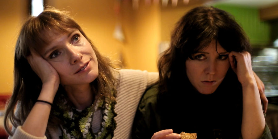 Black Mountain Poets. Image shows from L to R: Claire Walker (Dolly Wells), Lisa Walker (Alice Lowe).