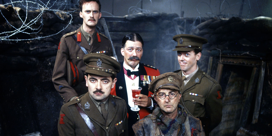 Blackadder. Image shows from L to R: Captain Kevin Darling (Tim McInnerny), Captain Edmund Blackadder (Rowan Atkinson), General Melchett (Stephen Fry), Baldrick (Tony Robinson), Lieutenant George Barleigh (Hugh Laurie).