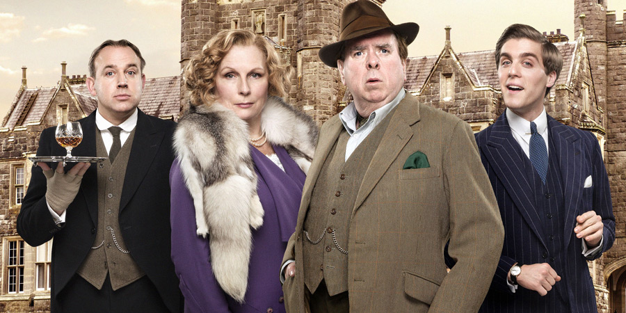 Blandings. Image shows from L to R: Beach (Tim Vine), Connie (Jennifer Saunders), Clarence (Timothy Spall), Freddie (Jack Farthing). Copyright: Mammoth Screen.