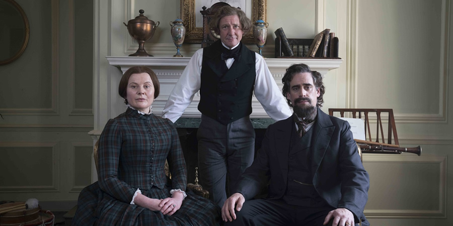 Urban Myths: Bleak House Guest. Image shows from L to R: Catherine (Monica Dolan), Hans Christian Andersen (Ian Hart), Charles Dickens (Stephen Mangan).