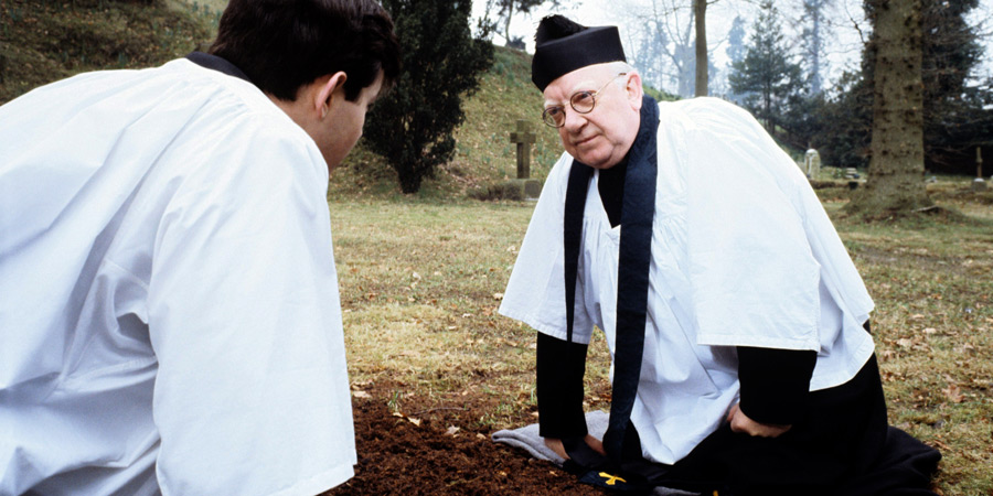 Bless Me, Father. Image shows from L to R: Father Neil Boyd (Daniel Abineri), Father Charles Clement Duddleswell (Arthur Lowe). Copyright: London Weekend Television.