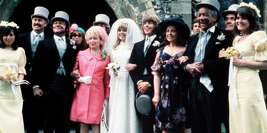Bless This House. Image shows from L to R: Sid James, Diana Coupland, Sally Geeson, Peter Butterworth, Terry Scott, June Whitfield, Robin Askwith, Carol Hawkins, Bill Maynard.