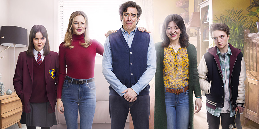 Bliss. Image shows from L to R: Kim (Heather Graham), Andrew (Stephen Mangan), Denise (Jo Hartley), Christina (Hannah Millward), Kim (Heather Graham), Andrew (Stephen Mangan), Denise (Jo Hartley), Kris (Spike White).