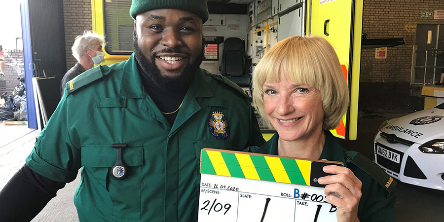 Bloods. Image shows from L to R: Maleek (Samson Kayo), Wendy (Jane Horrocks). Copyright: Roughcut Television.
