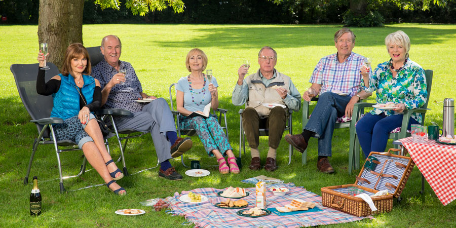 Boomers. Image shows from L to R: Maureen (Stephanie Beacham), John (Russ Abbot), Carol (Paula Wilcox), Trevor (James Smith), Alan (Philip Jackson), Joyce (Alison Steadman). Copyright: Hat Trick Productions.
