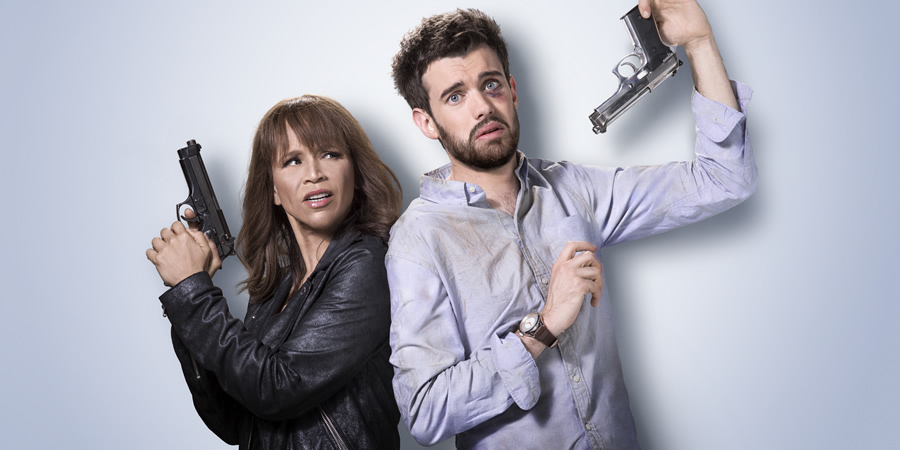 Bounty Hunters. Image shows from L to R: Nina Morales (Rosie Perez), Barnaby Walker (Jack Whitehall). Copyright: Cave Bear Productions.