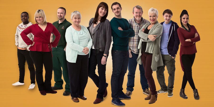 Boy Meets Girl. Image shows from L to R: Charlie (Tyler Luke Cunningham), Jackie (Lizzie Roper), Dean (Steve Marsh), Peggy (Janine Duvitski), Judy (Rebecca Root), Leo (Harry Hepple), Tony (Nigel Betts), Pam (Denise Welch), James (Jonny Dixon), Anji (Vineeta Rishi). Copyright: Tiger Aspect Productions.