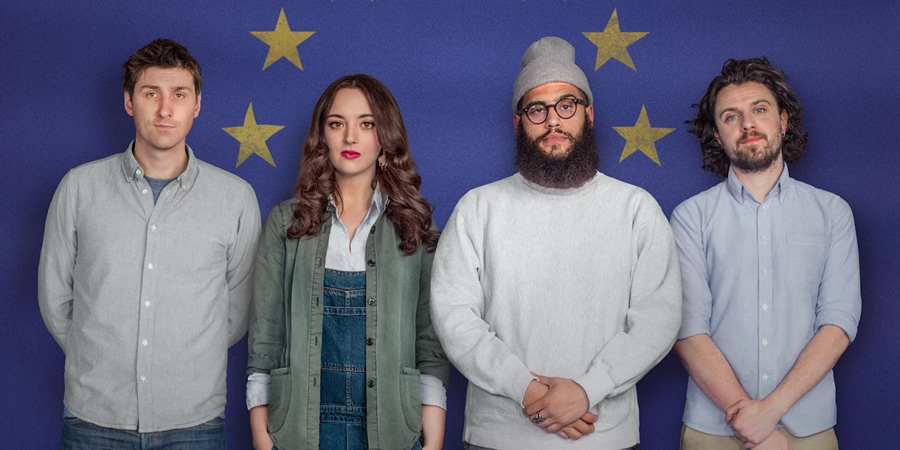 Brexit Stage Left. Image shows from L to R: Sean McLoughlin, Fern Brady, Jamali Maddix, Alfie Brown.