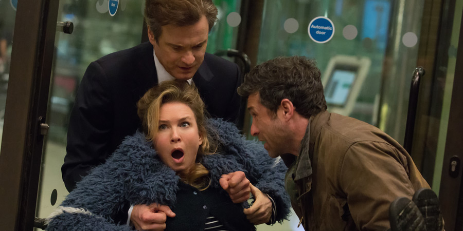 Bridget Jones's Baby. Image shows from L to R: Bridget (Renée Zellweger), Mark Darcy (Colin Firth), Jack (Patrick Dempsey). Copyright: Working Title Films / Universal Pictures.