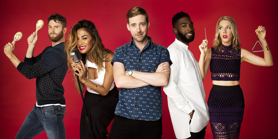 Bring The Noise. Image shows from L to R: Joel Dommett, Nicole Scherzinger, Ricky Wilson, Tinie, Katherine Ryan. Copyright: Twenty Six 03.