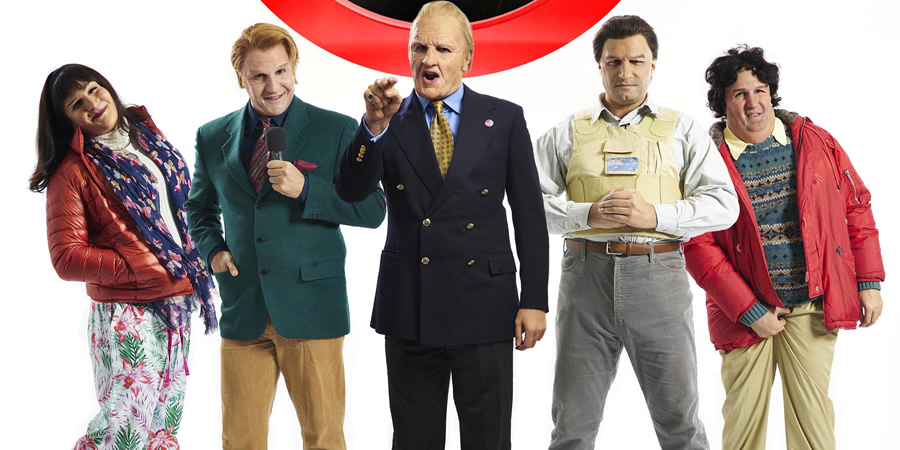 Britain Today Tonight. Image shows from L to R: Mandi Manners (Kayvan Novak), Ken Kildoon (Kayvan Novak), Douglas 'Digger' Daley (Kayvan Novak), Jon Donovan (Kayvan Novak), Peter P. Powers (Kayvan Novak). Copyright: Objective Productions.
