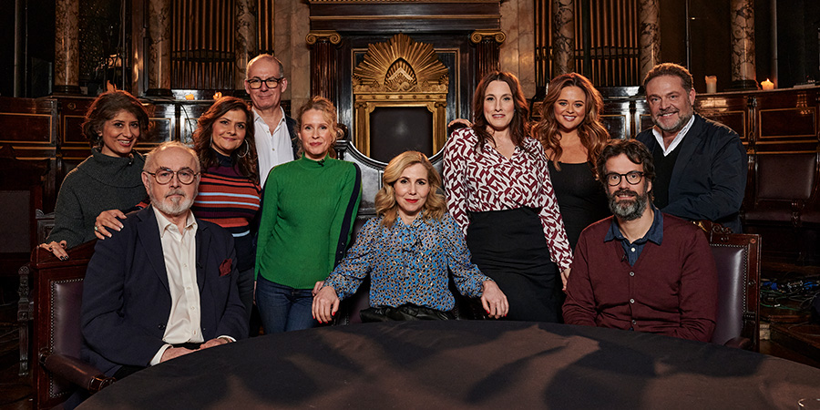 Britain's Greatest Comedy Character. Image shows from L to R: Shappi Khorsandi, Peter Egan, Nina Wadia, David Quantick, Lucy Beaumont, Sally Phillips, Grace Dent, Emily Atack, Marcus Brigstocke, John Thomson. Copyright: Crook Productions.